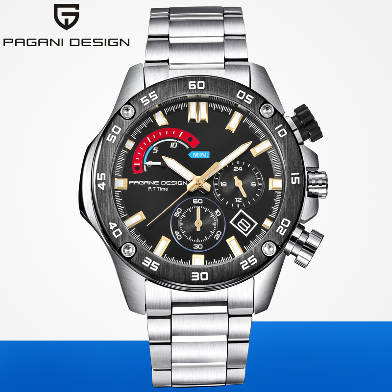 PAGANI DESIGN Luxury Brand Mens Business Stainless Steel Multifunction Quartz Watches 30M Waterproof Sport Chronograph Watch AAA