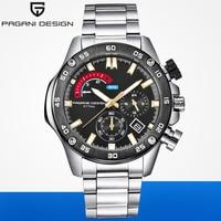 PAGANI DESIGN Luxus Marke Mens Business Edelstahl Multifunktions Quarz Uhren 30M Wasserdichte Sport Chronograph Uhr AAA-in Damenuhren aus Uhren bei