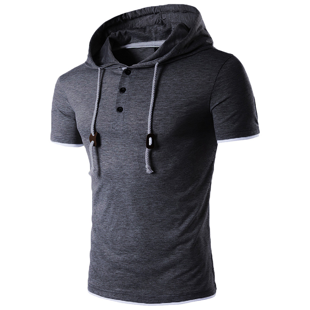 1405ab78 Men's Solid Color Spring Summer Short Sleeve Button Hooded T-Shirt Casual  fashion comfortable shirt