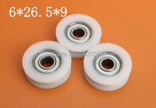 цена на 10pcs696zz 6*26.5*9UU High quality U groove door pulley ball bearing plastic covered mute bearings U slot embedded bearing