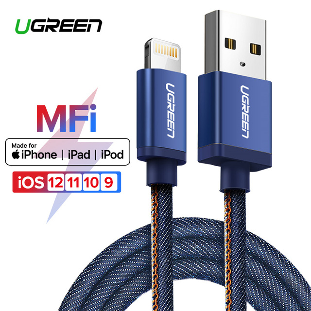 Ugreen MFi Lightning USB Cable for iPhone X XS Max XR 2.4A Fast Charging Data Cable for iPhone 8 7 6 6s Plus Mobile Phone Cable