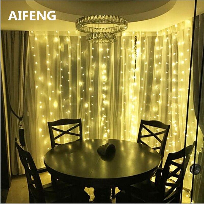 AIFENG Christmas Lights Curtain 3X3M 300led 3X1 5M 144led 3 2M 192led Curtain Led String Light