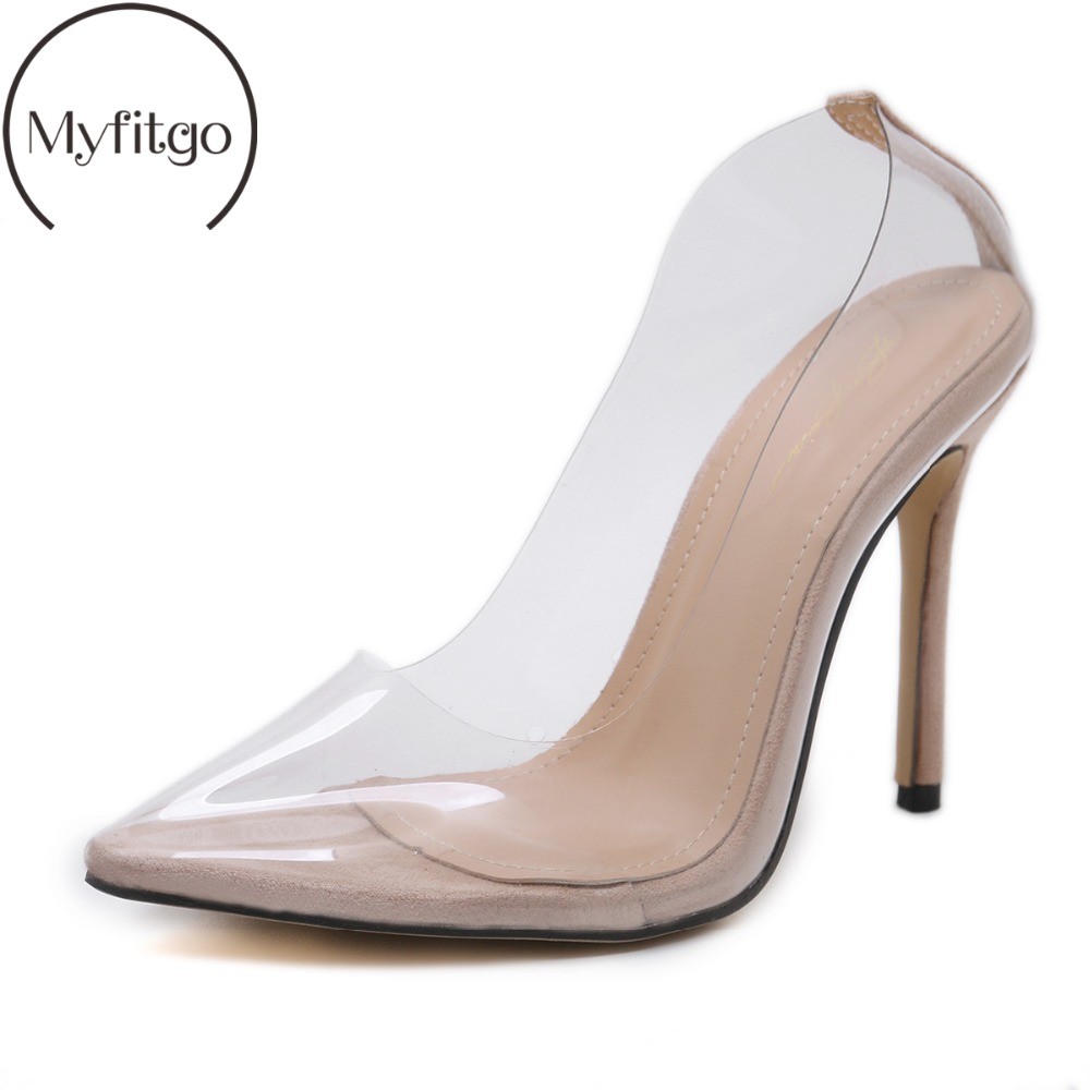 Myfitgo Sexy Jelly Shoes Women Close Pointed Toe Pumps PVC Clear Transparent 11cm High Heel Stilettos Wedding Dress Court Shoes