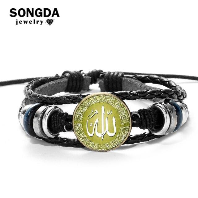 SONGDA アラビアモハメド · イスラム革ブレスレット神イスラムアッラーの魅力のブレスレット男性宗教信仰イスラム教徒ジュエリー Pulseira Masculina