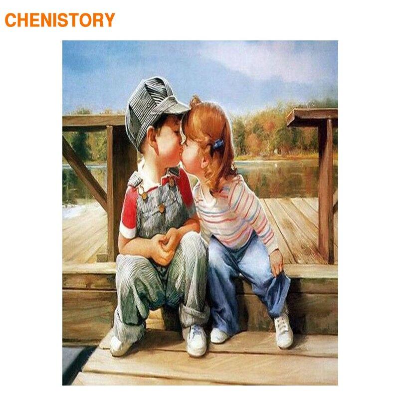 CHENISTORY Bonheur Enfance DIY Peinture Par Numéros Peints À La Main Peinture À L'huile Sur Le Mur de Toile Art Image 40*50 Décoration de La Maison