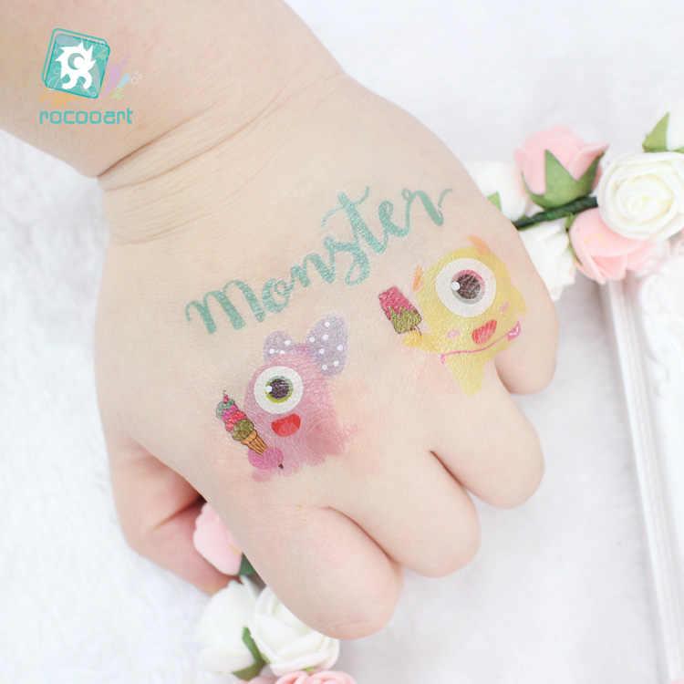 Rocooart enfants tatouage petit monstre faux tatouage enfants cadeau temporaire tatouage autocollant dessin animé Tatuagem fête Tatuaje Flash Taty