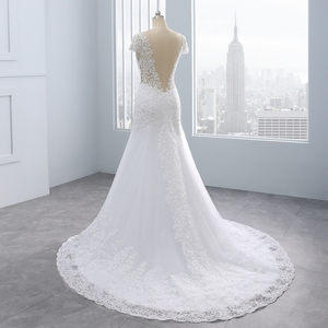 Image 4 - 2020 Vestidos de noiva Short Backless Lace Wedding Dresses Mermaid Appliques Pearls White Wedding Gowns Plus Size Wedding Dress