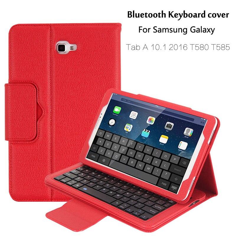 For Samsung Galaxy Tab A 10.1 2016 T580 T585 T580N T585N Bluetooth Keyboard Portfolio Folio PU Leather Case Cover + Pen + Film цена
