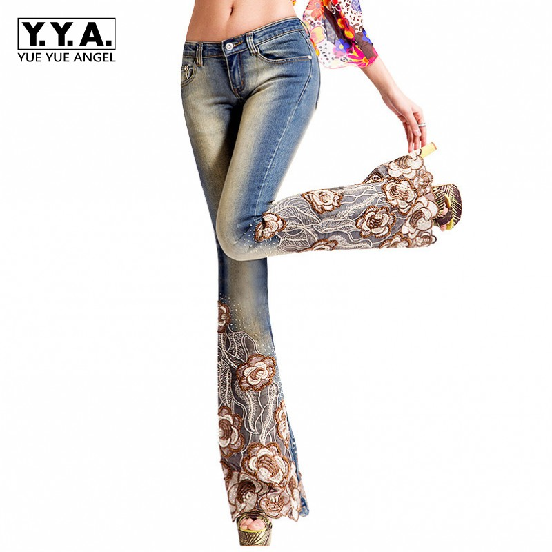 Autumn High Quality Beading Emboridery Jeans Women Sexy Lace Crochet Denim Trousers For Women Skinny Washed Jeans Wide Leg Pants