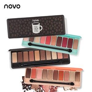 Палитра теней для век NOVO, 10 цветов, матовые тени для век, палитра теней для век с блеском, макияж телесного цвета, корейская косметика