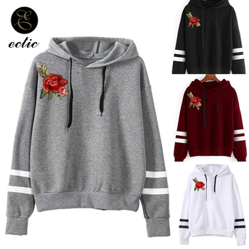 Embroidered Rose Applique Women Hoodies Poleron Mujer 2019 Elegant Sweatshirt Long Sleeve Black White Stripes Hoodie Drawstring balloon sleeve embroidered applique dress