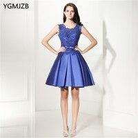 Elegant Lace Cocktail Dresses 2018 A Line Satin Cap Sleeves Sheer Back Knee Length Royal Blue Short Prom Dress Formal Party Gown