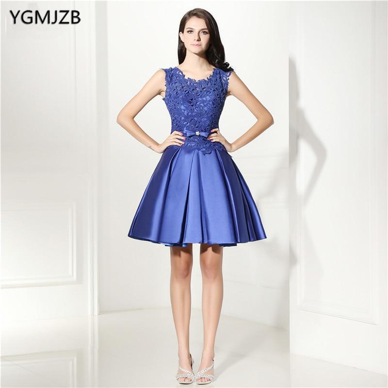 Elegant Lace Cocktail Dresses 2018 A Line Satin Cap Sleeves Sheer