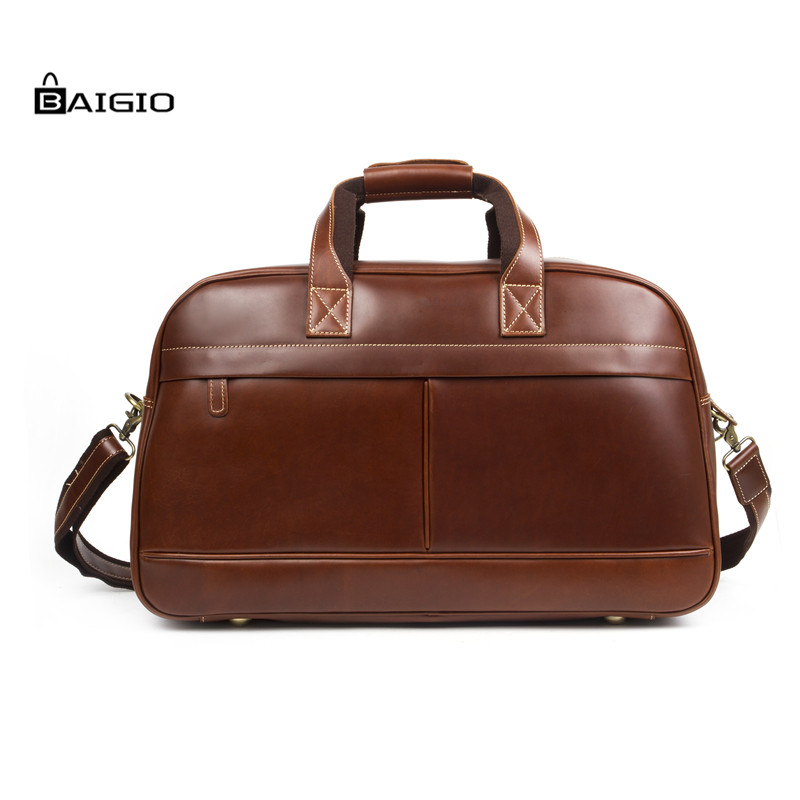 Baigio Retro Brown Leather Weekender Travel Duffel Overnight Bag Hand Luggage Totes Shoulder Bag Travel  Bag For Men new men s lightweight nylon holdall bag top handle handbag tote weekender overnight travel bag trip carryall shoulder bag