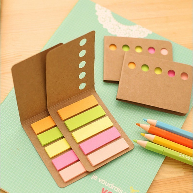 Cute Novelty Kraft Paper Cover Candy Color Memo Pad N-times Sticky Note Bookmark Notepad School Office Supply Student Prize Gift