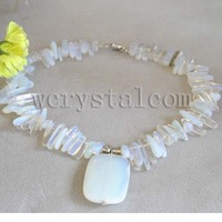 Moonstone Teeth Rectangle Pendant Necklace