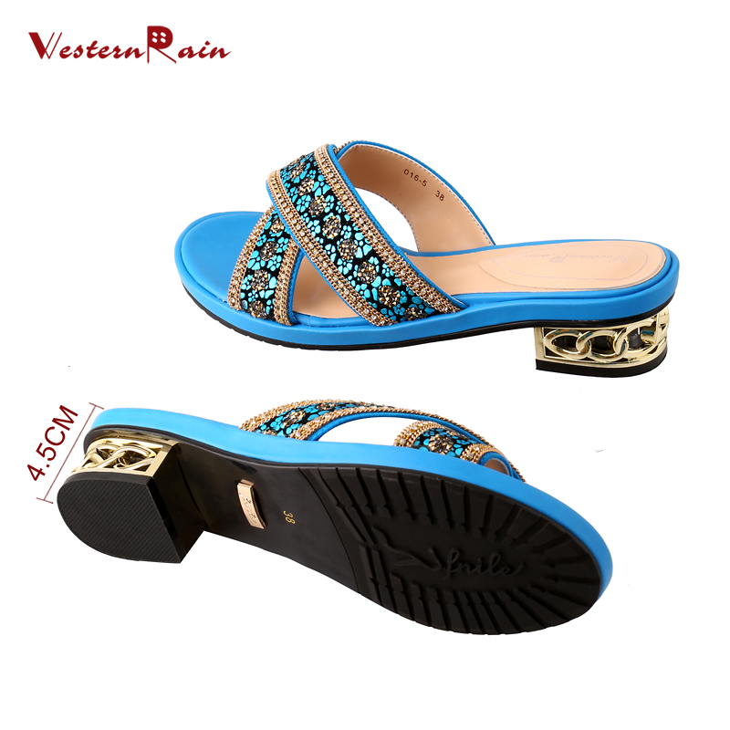 71dd2536843b21 WesternRain Mid Heels Women Slippers Blue Leather high quality Large Size  Leisure Comfortable Rhinestones Sandals 016 5-in Slippers from Shoes on ...