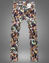 Мода новые новинка цветочный печати тонкий джинсы