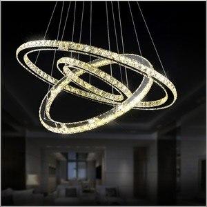 Image 4 - LED كريستال الثريا ضوء الحديثة LED دائرة مصباح نجف معلقة Lustres LED حلقة الإضاءة ديكور المنزل