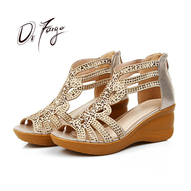 DRFARGO Cow Split Leather Summer Sandals for Women 6cm Wedge Heeled Back zipper T strap Bling Platform Shoes JD803 size 35 41
