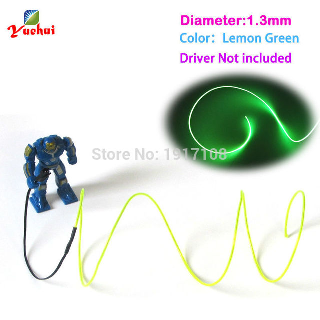 10 Color Choice 1.3mm EL Wire Rope Tube Flexible LED Neon Light Not ...