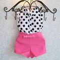 2016 новое лето девушки одежда наборы девушка детская одежда в горошек пальто + розовый брюки одежда для новорожденных