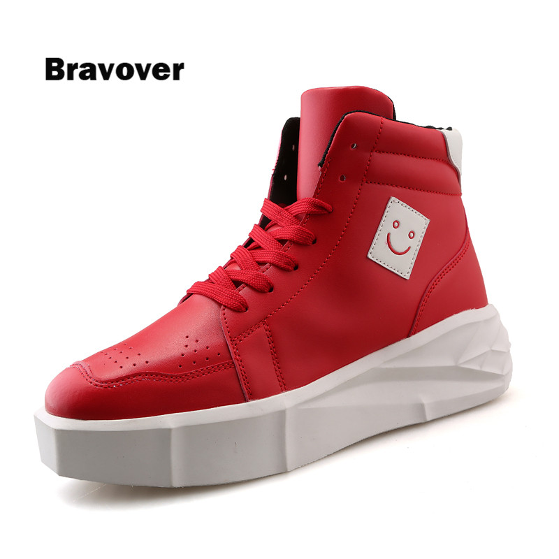New Fashion High Top Casual Shoes For Men PU Leather Lace Up Red White Black Color Mens Casual Shoes Men High Top Shoes Retail zdrd new fashion genuine leather men business casual shoes british low top lace up suede leather mens shoes brown red men shoes