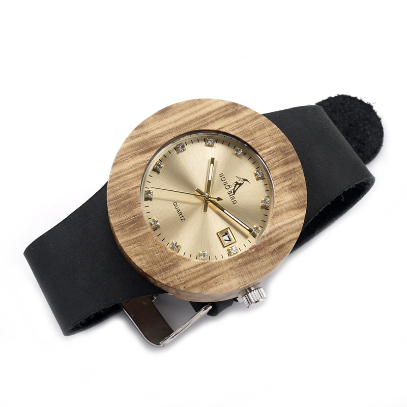 Luxury BOBO BIRD Complete Calendar Watch Women Zebra Wood Wristwatch Genuine Leather Band Wooden Watches relogio