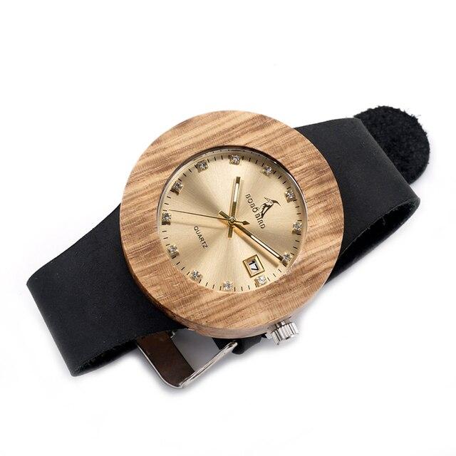 Luxury BOBO BIRD Complete Calendar Watch Women Zebra Wood Wristwatch Genuine Lea