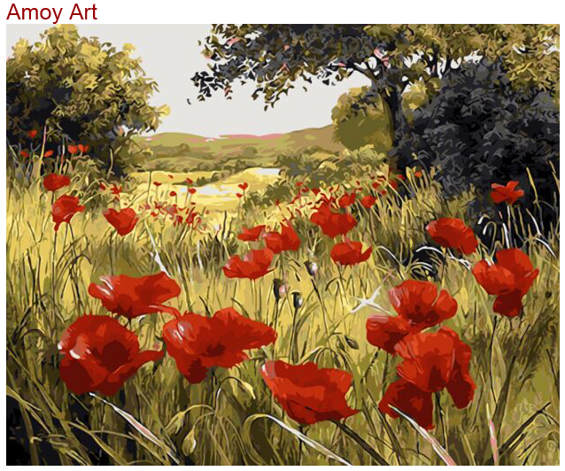 Frameless Canvas Art Oil Painting Flower Painting Design: Frameless Red Flowers Picture Painting By Numbers With