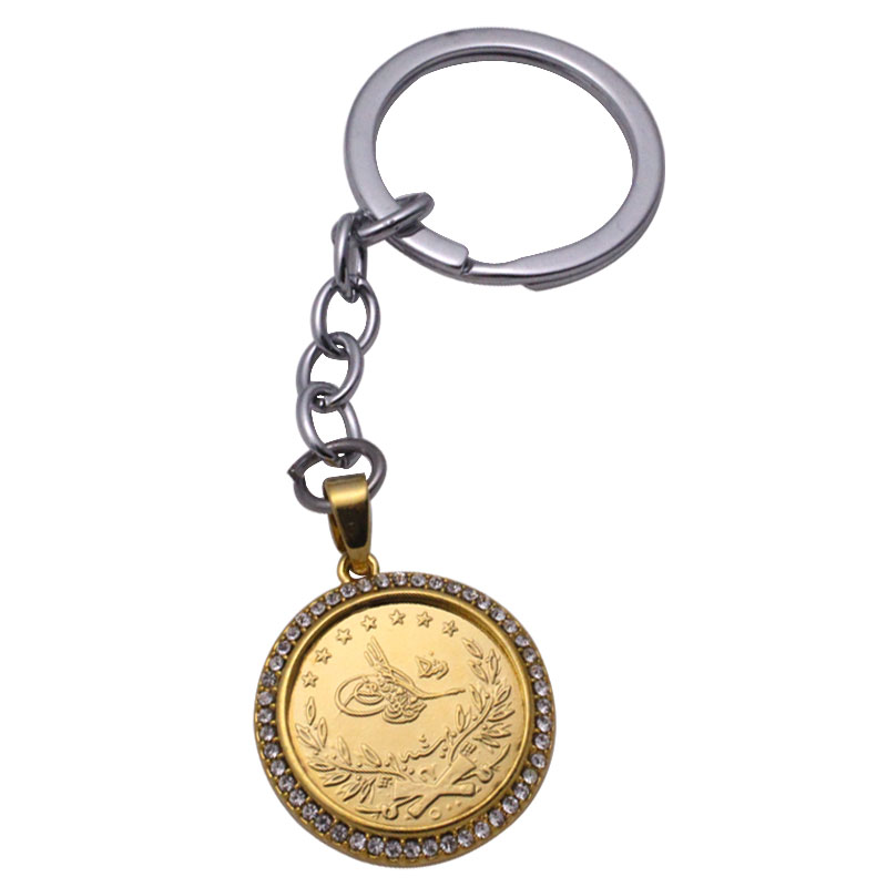 zkd islam Arab Coin Gold Color Turkey Coins key chains muslim Ottoman coins key ring ...