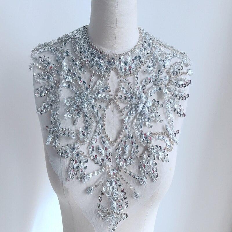 1 Pc strass mariée Applique argent noir jaune strass pour artisanat cristal garniture robe de mariée décoration Scrapbooking