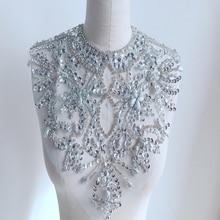 1Pc Rhinestone Bridal Applique Silver Black Yellow Rhinestones For Crafts Crystal Trim Wedding Dress Decoration Scrapbooking