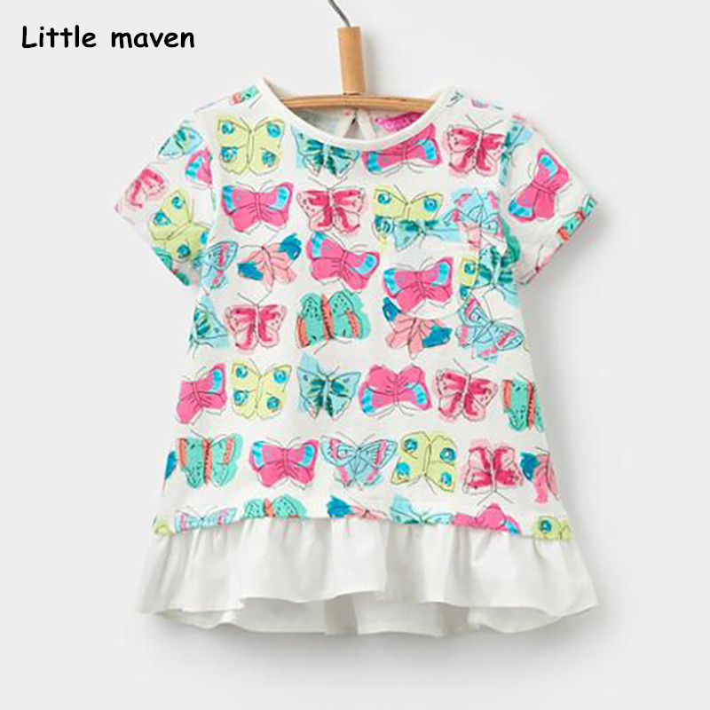 Little maven children 2018 summer baby girl clothes short sleeve butterfly print t shirt Cotton brand tee tops 50997 trendy men s round neck geometric print short sleeve t shirt