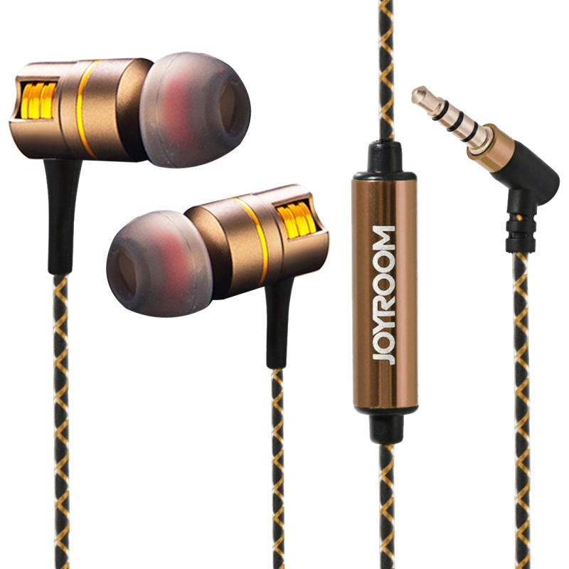 JOYROOM Metal Earphone Heavy Bass Headset Noise Canceling Earbuds for Xiaomi Huawei iPhone Earphone 3.5mm Jack 3 Size Earmuffs heavy bass earphone 3 5mm g10 white original headphones noise canceling headset wired hifi earbuds with mic for phone mp3 mp4