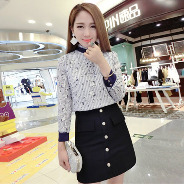 Winter and Autumn Clothes Lovely Women Two Piece Top Set Shirt Blouse Skirt Suits Fashion Embroidery