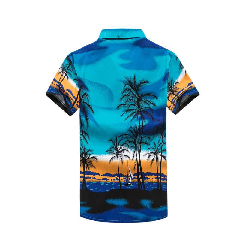 d0b4a1f35de ... Mens Hawaii Shirt For Summer Beach Leisure Fashion Floral Tropical  Seaside Hawaiian Shirts 2018 New Casual ...