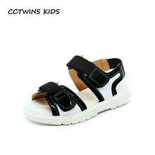 CCTWINS KIDS 2017 Summer Baby Brand Pu Leather Hollow Black Flat Toddler Beach Sandal Children Fashion Brand White Shoe B1141