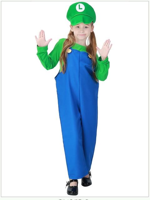 kids super mario halloween costumes luigi brothers plumber costume jumpsuit fancy cosplay clothing boys girls roleplay