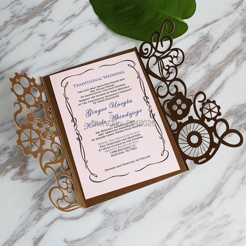 50pcs Personalized Laser cut Steampunk Elegant Wedding Invitation ...