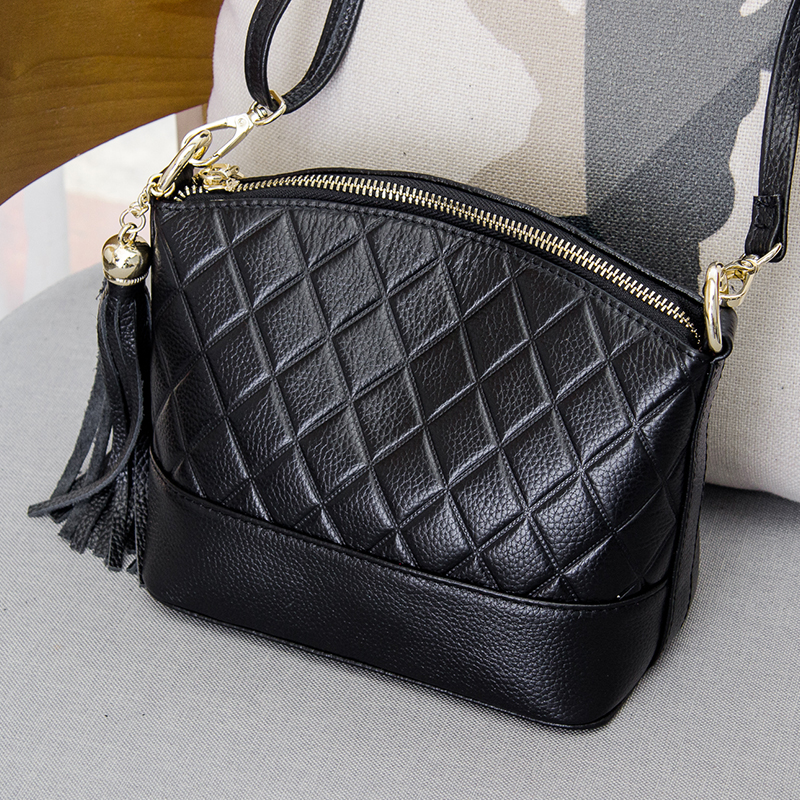 Fashion Shell Messenger Bags Cow Leather Women Bag 100% Genuine Leather Handbag Plaid Shoulder & Crossbody Bag 100% genuine leather make cow leather handbag shoulder bag shell bag middle aged women suitable for life shopping the best gift