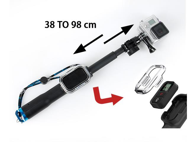 Accessories Extendable Handheld Monopod Stick With Wifi Remote Case For Gopro HERO 4 Session 4 3