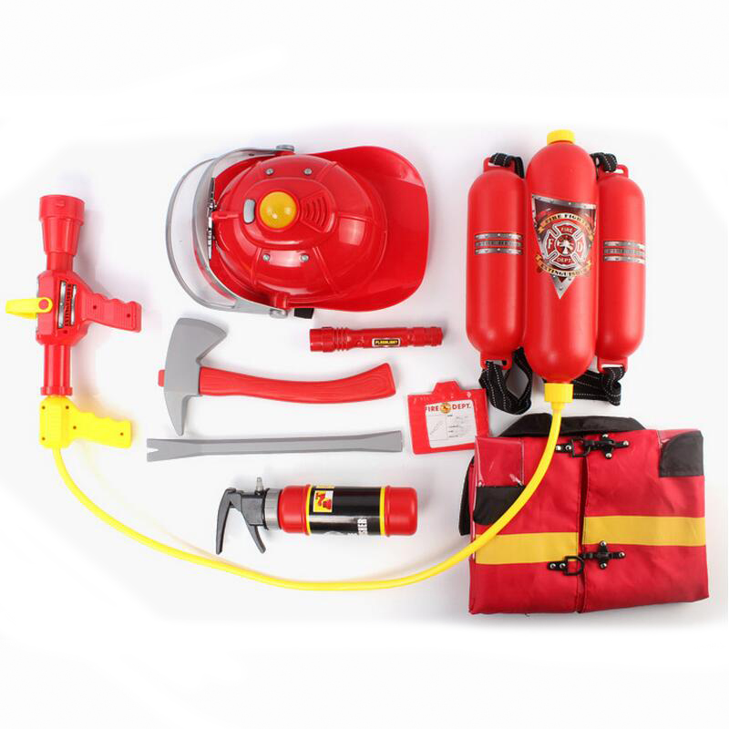 Summer Outdoor Toy Fireman Theme Water Gun Kit Pretend Play Tool W Backpack Hat Cloth Simulation