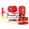 Tema Bombero de Juguete Pistola de Agua de verano Al Aire Libre Kit Pretend Tool W/Sombrero Mochila Paño Simulación Extintor Martillo