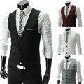 Nuevo diseño moda Top hombres de lujo cabida trajes esmoquin vestido chalecos chaleco 4 Color caliente de la venta