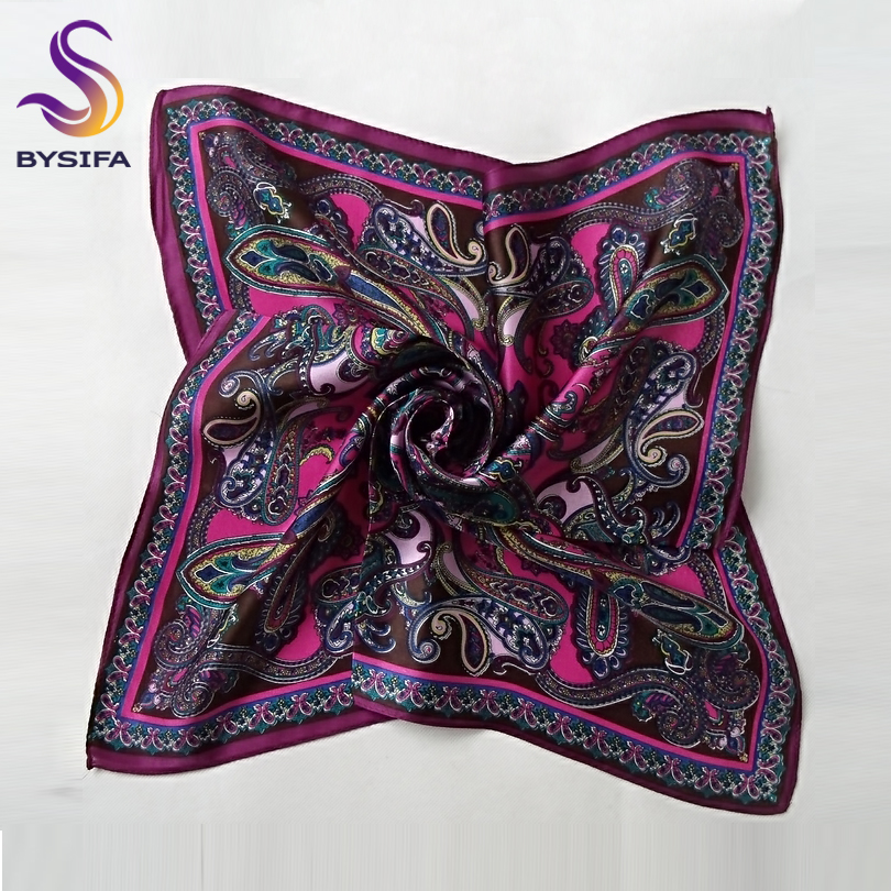 [BYSIFA] Women Small Square   Scarves     Wraps   Fashion Spring Autumn Ladies Paisley Pattern Dark Pink Silk   Scarf   Neck   Scarf   55*55cm