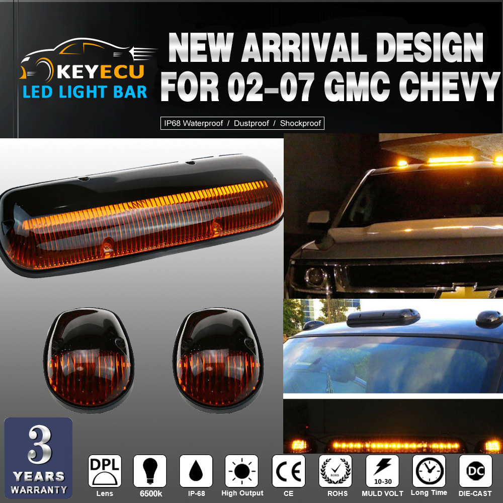 KEYECU SET of Amber Lens 30LED Cab Marker Roof Clearance Lights Assembly for 02-07 GMC Chevy Direct Replacement CRL264155AM