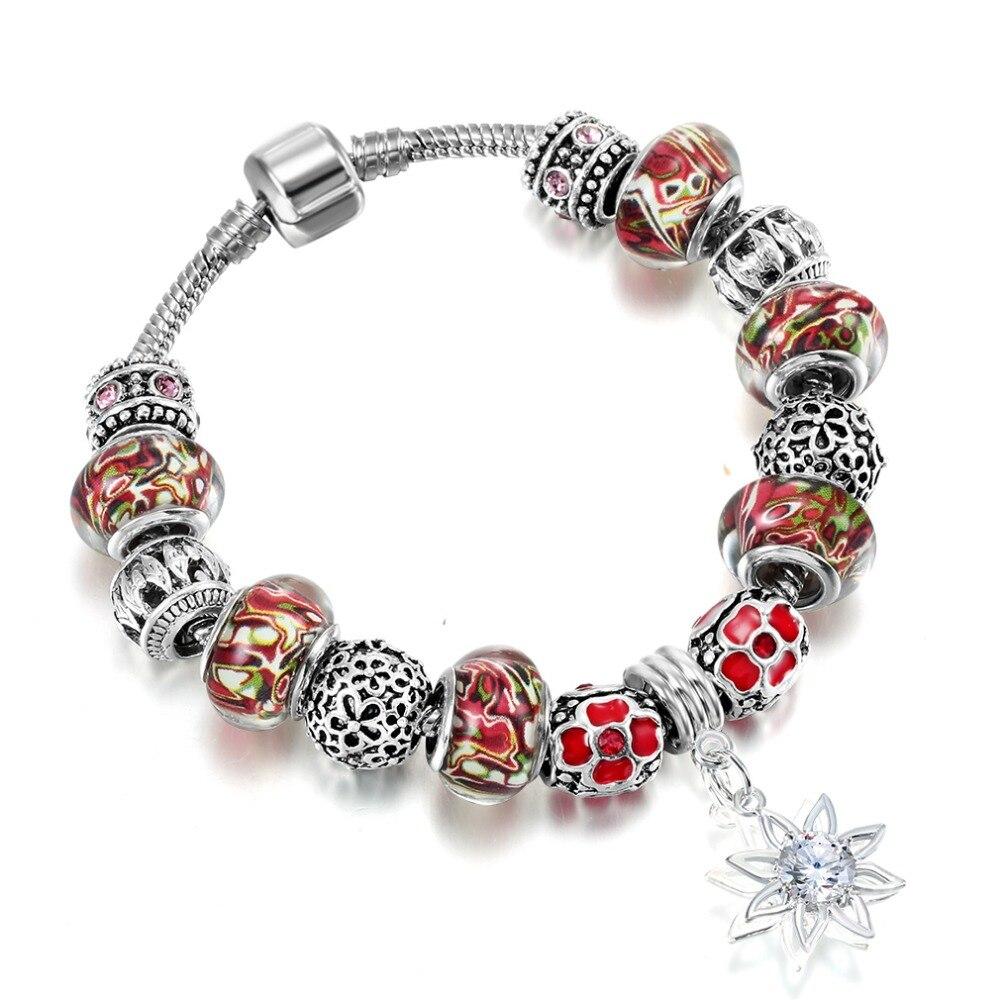 QIAMNI-Colorful-Murano-Glass-Sun-Flower-Pendant-Beads-Bracelet-Bangles-Fit-Original-Women-Girl-Snake-Chain