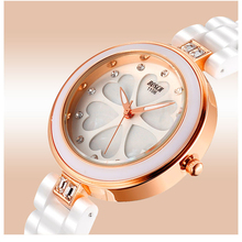 Bosck Moda Flor Del Dial Del Reloj de Las Mujeres Rhinestone Reloj de la Pulsera Mujeres Imitado Cerámica Señoras Relojes 2016 Relojes Mujer