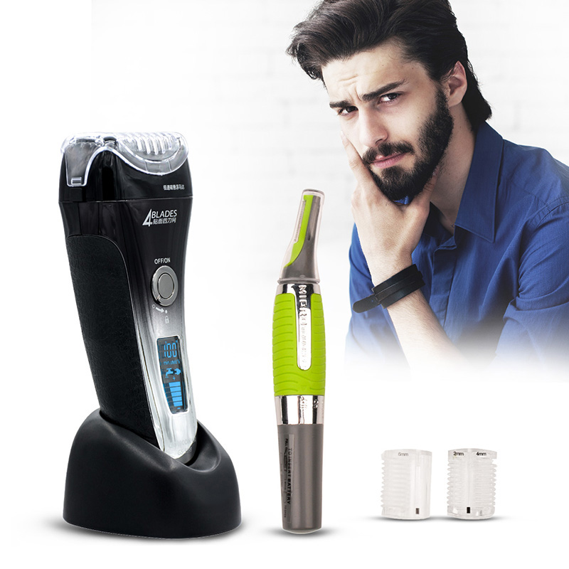 Hot LCD Display Electric Shaver 4 Blade Rechargeable Mens Shaving Razor Quick Charge Barbeador +Gift Nose Ear Hair Trimmer S4243 w519 multifunctional waterproof men rechargeable electric shaver razor blade shaving hair nose sideburn trimmer